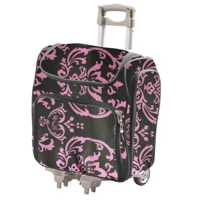 5fb727ddbe8b CC - Craft Rolling Travel Trolley Tote - Pink Damask Foldable   lightweight  2 Pcs